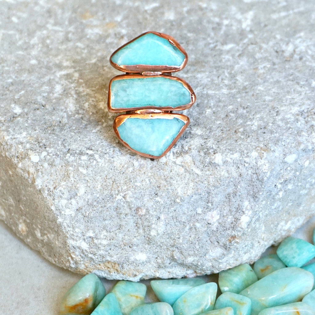 Buried Treasure 3 Stone Ring- Amazonite