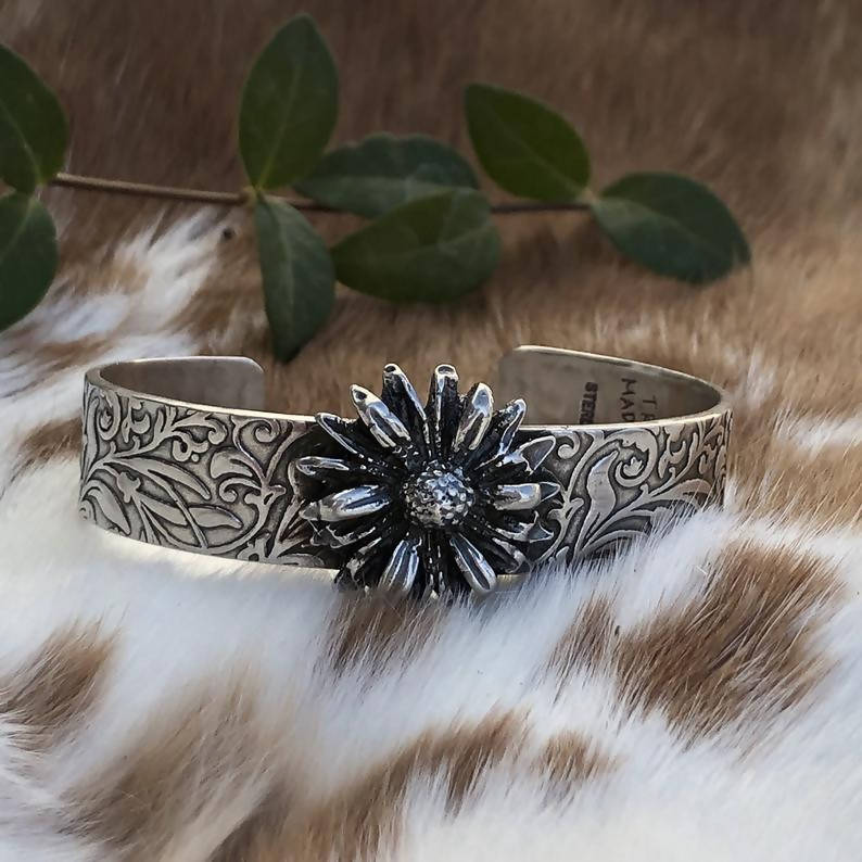 Wildflower Sterling Silver Cuff Bracelet