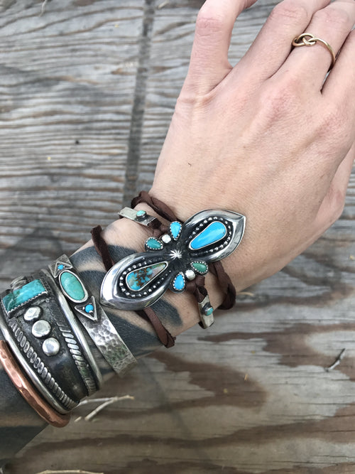 Peaceful Warrior Sheild Wrap Bracelet // Kingman and Turquoise MountainTurquoise // Deerskin and Sterling Silver