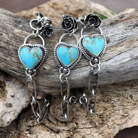 Made to order You have my Heart Turquoise and succulent hand stamped chain sterling silver bracelet, artisan, handmade, Boho, Bohemian