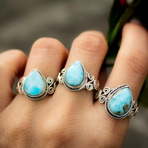 Boho Teardrop Larimar Ring
