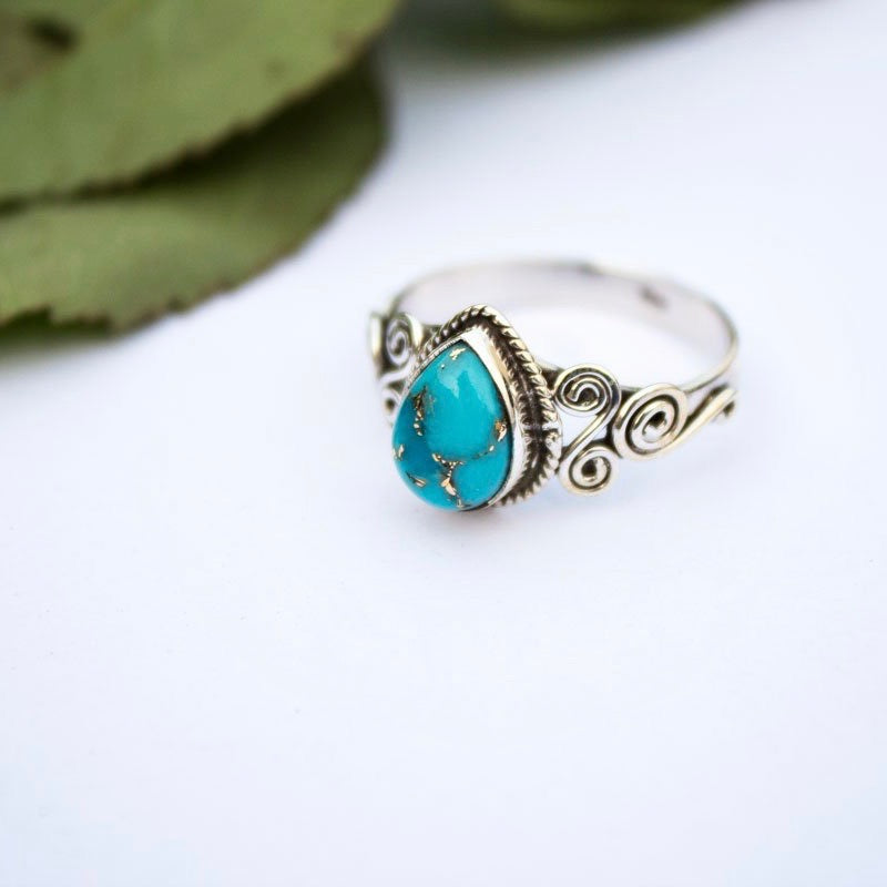 Pear Shape Copper Turquoise Sterling Silver Ring