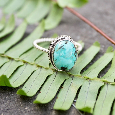 Teardrop Shaped Turquoise Ring - Sz. 7 - Statement Ring