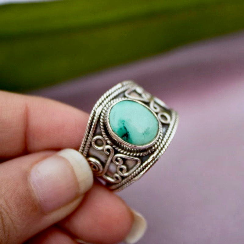 Custom Made Turquoise Shield Ring