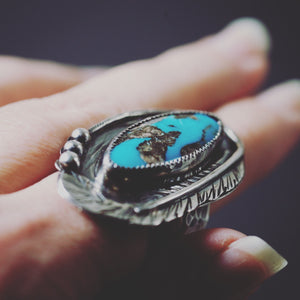 Blue Moon Turquoise Feather Ring Size 8.5