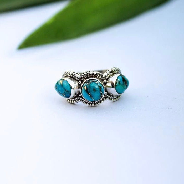 Copper Turquoise 3 stone Ring