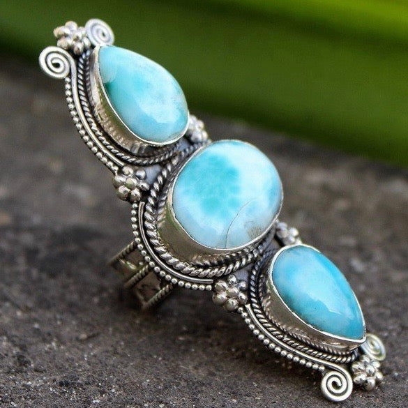 Natural Larimar 3 Stone Ring