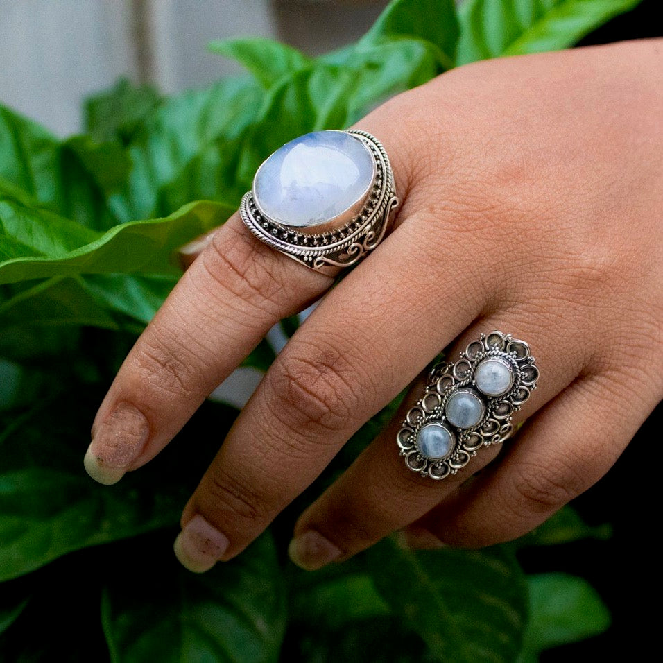 Moonstone Silver Cuff Ring