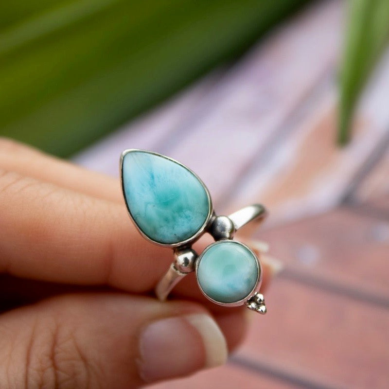 Natural Larimar Silver Ring