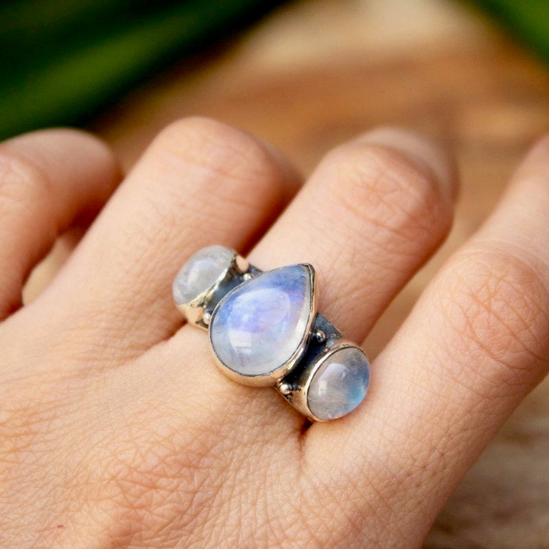 Three Stone Moonstone Ring in Sterling Silver