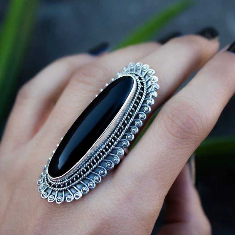 Natural Black Onyx Sterling Silver Ring