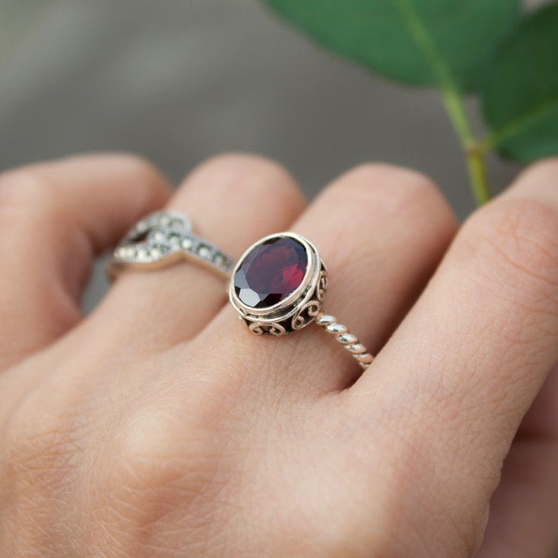 January Birthstone Garnet Ring