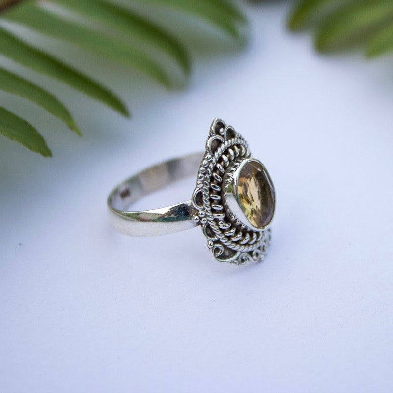 Lucky Citrine Sterling Silver Ring