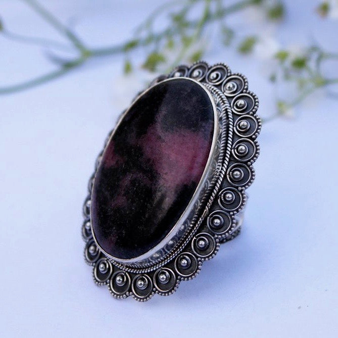 Sterling Silver Rhodonite Ring Size 8