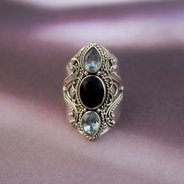 Sterling Silver Black Onyx and Blue Topaz Ring