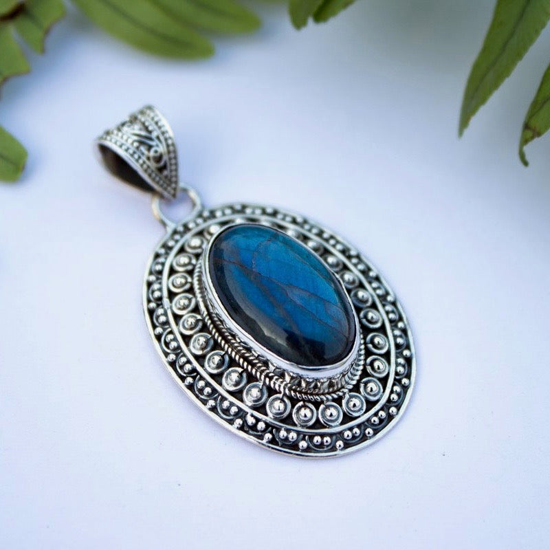 Intricately Detailed Laboradorite Pendant