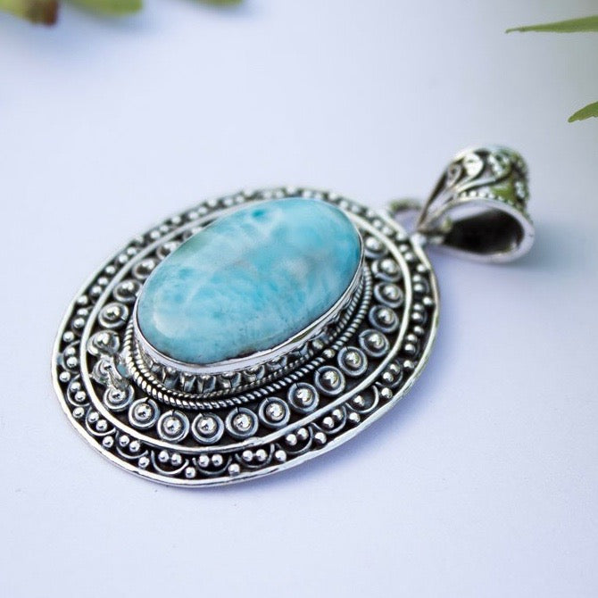 Natural Larimar Silver Necklace