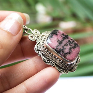 Rhodonite Sterling Silver Necklace