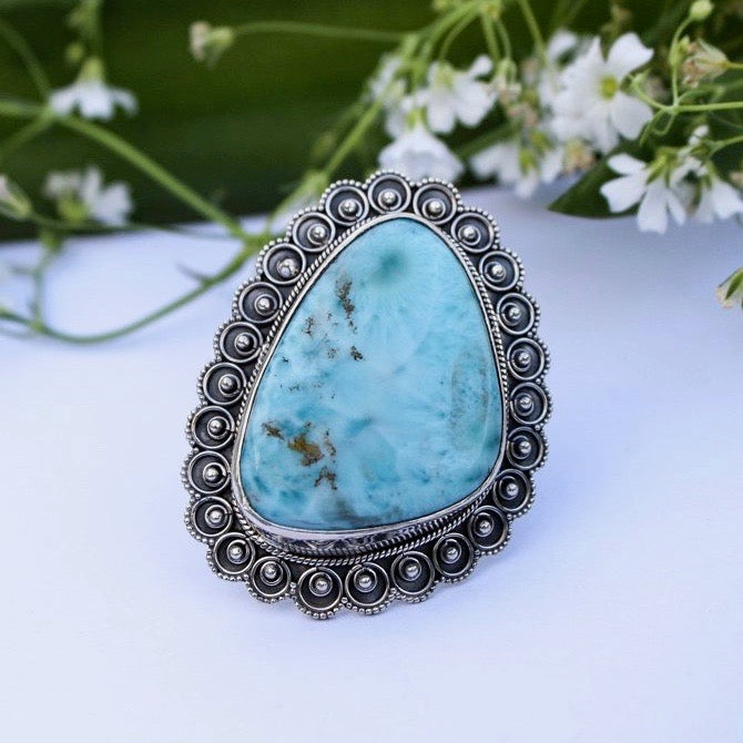 Statement Larimar Ring- Size 8