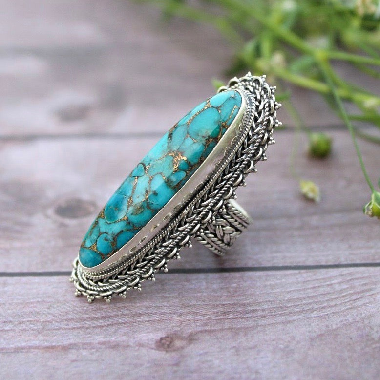 Blue Copper Turquoise Ring