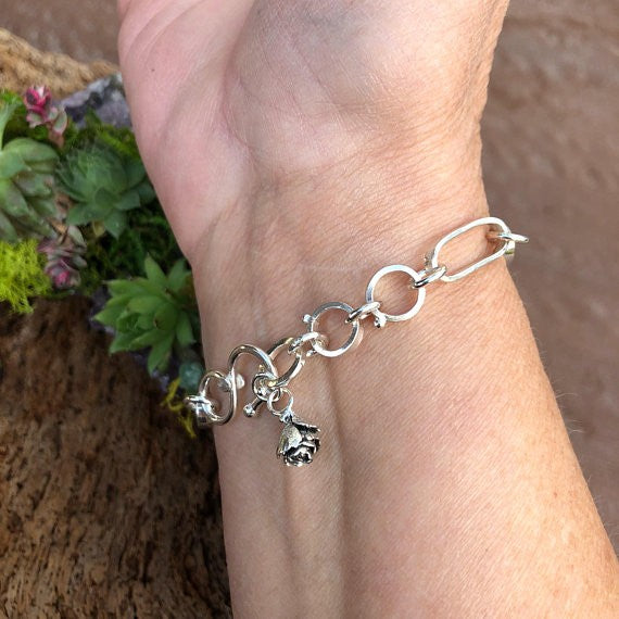 Made to order Hand wrought oblong chain with succulent sterling silver bracelet, artisan, handmade, Boho, Bohemian
