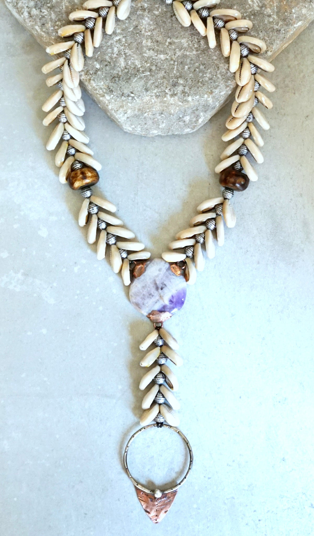 Cowrie Shell Mermaid 'Y' Necklace