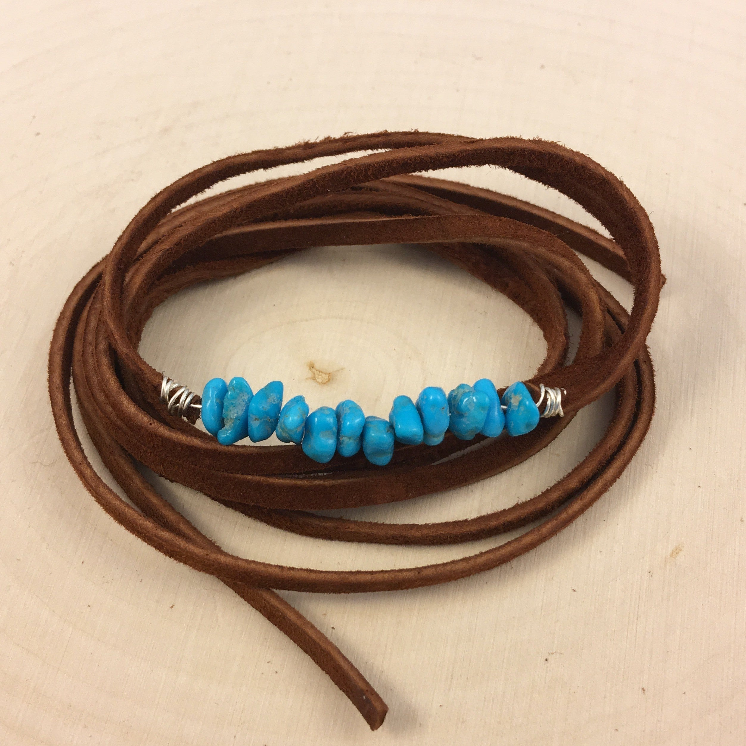 Brown Suede & Turquoise Choker