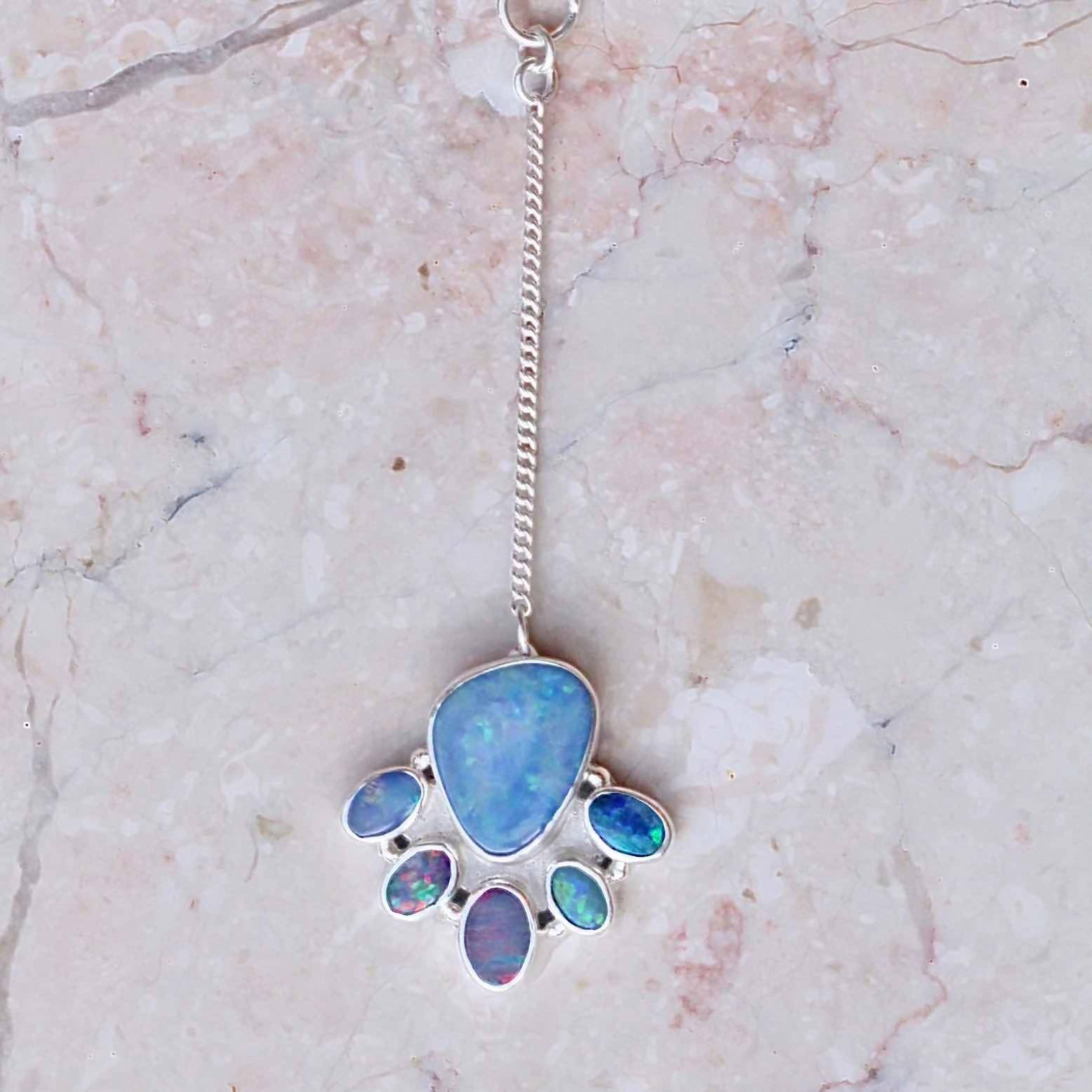 Genuine Blue Opal Drop Necklace
