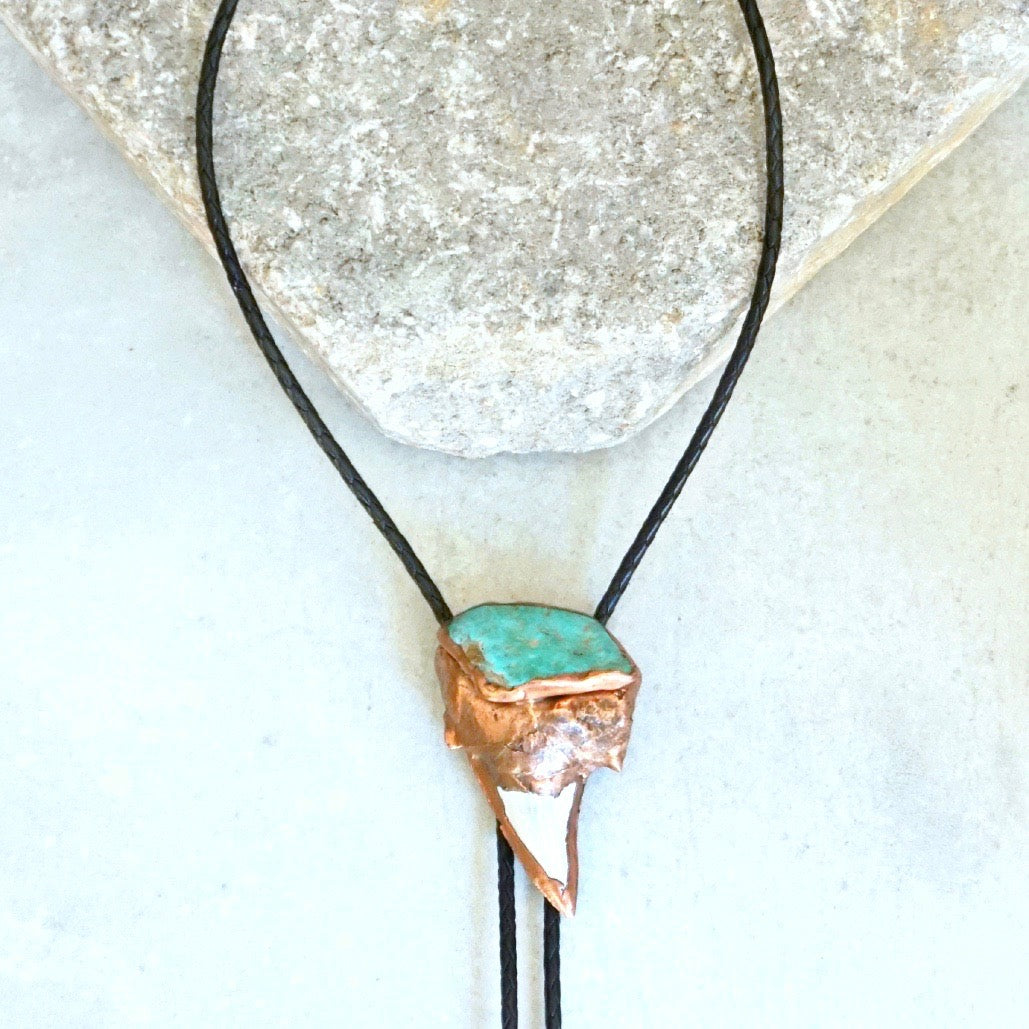 Otodus Turquoise And Shark Tooth Bolo Necklace
