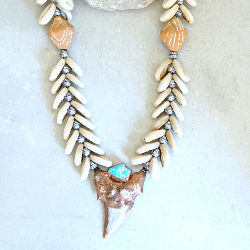 Otodus Shark Tooth and Turquoise necklace