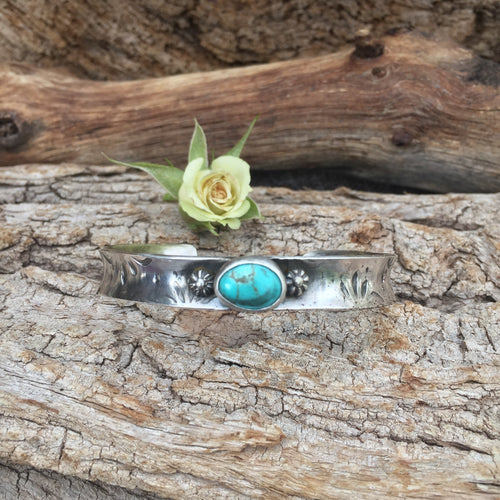 Boho Anticlastic hand stamped southwest blossom and kingman turquoise sterling silver cuff