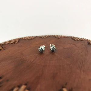 Tiny Sterling Silver Hand Stamped Stud Earrings