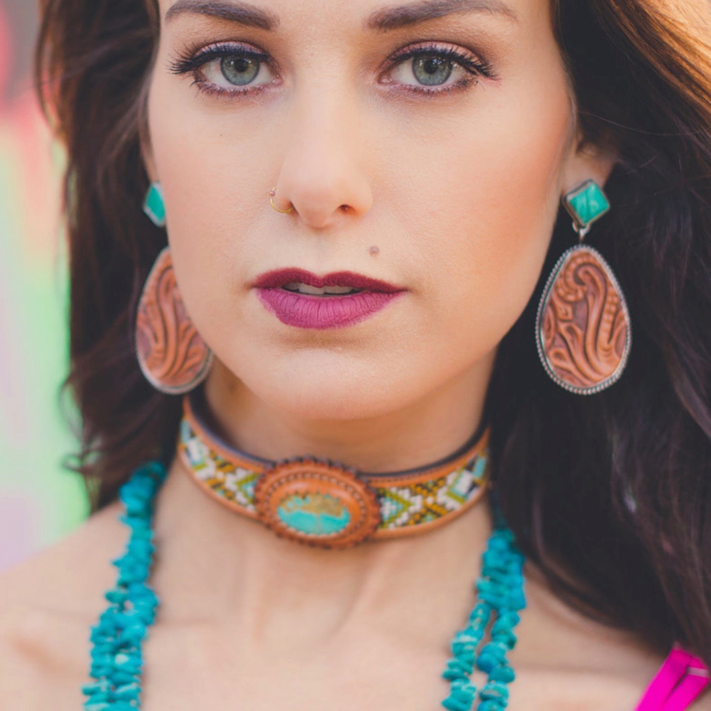 Hand Tooled Silver, Leather & Turquoise Earrings