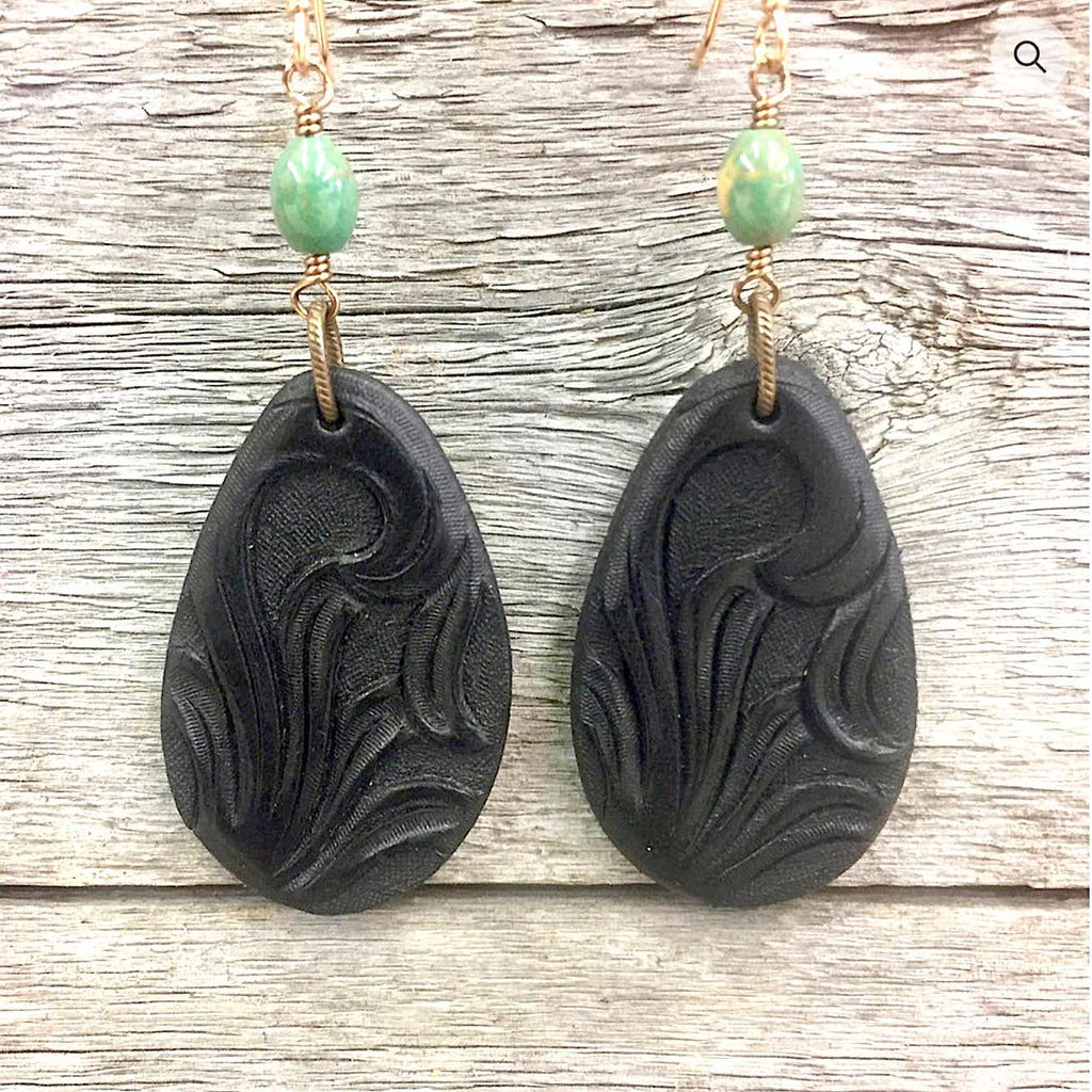 Black Hand Tooled Leather Earrings
