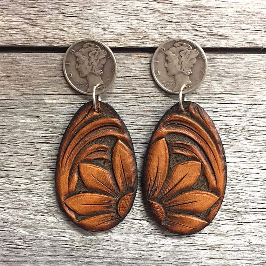 Floral Hand Tooled Leather Earrings