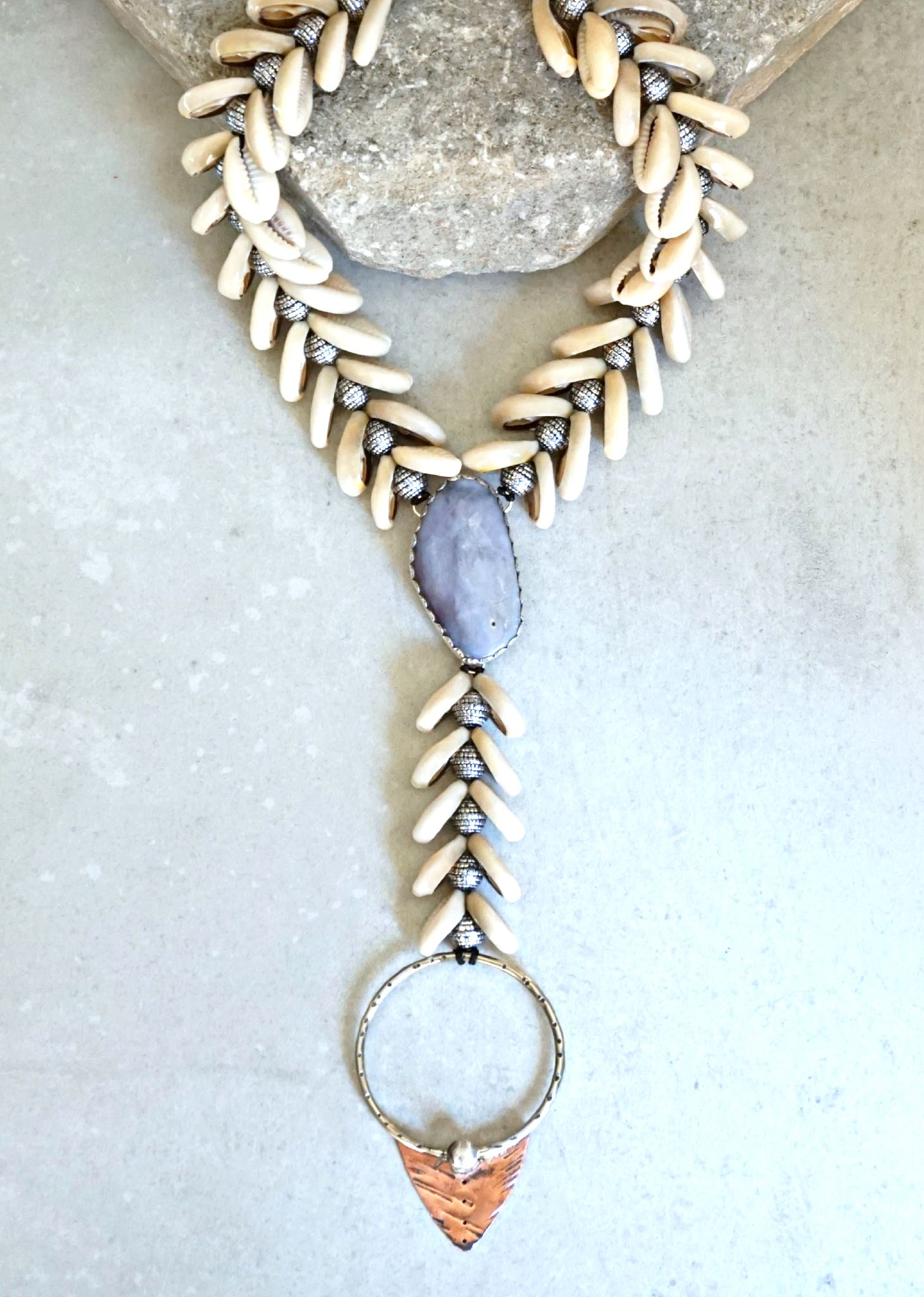 Siren Cowrie Shell Necklace- Crazy Agate