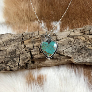 Turquoise Heart Cabochon Sterling Silver Pendant Necklace
