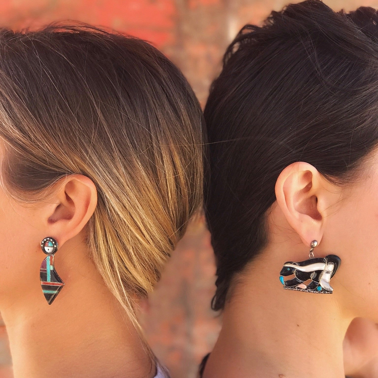 Vintage Portillo Sheyka Zuni Inlay Skunk Earrings