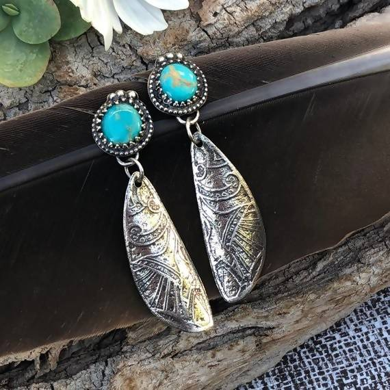 Boho Kingman Turquoise Etched Sterling Silver Earrings