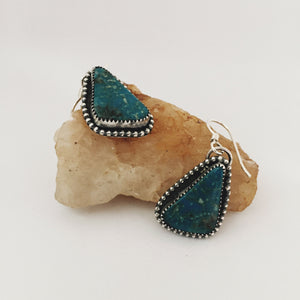 Kingman Turquoise Beaded Silver Earrings