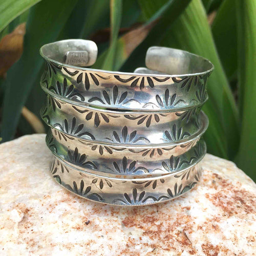 Fancy Anticlastic hand stamped sterling silver cuff- perfect stacker to your Turquoise collection