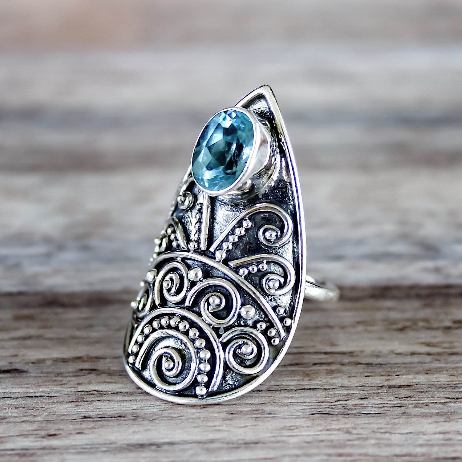 Topaz Silver Shield Ring