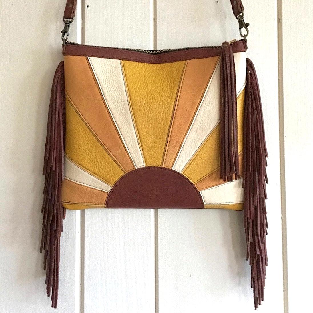 Sun Rider Leather Fringe Clutch/ Crossbody Leather Bag