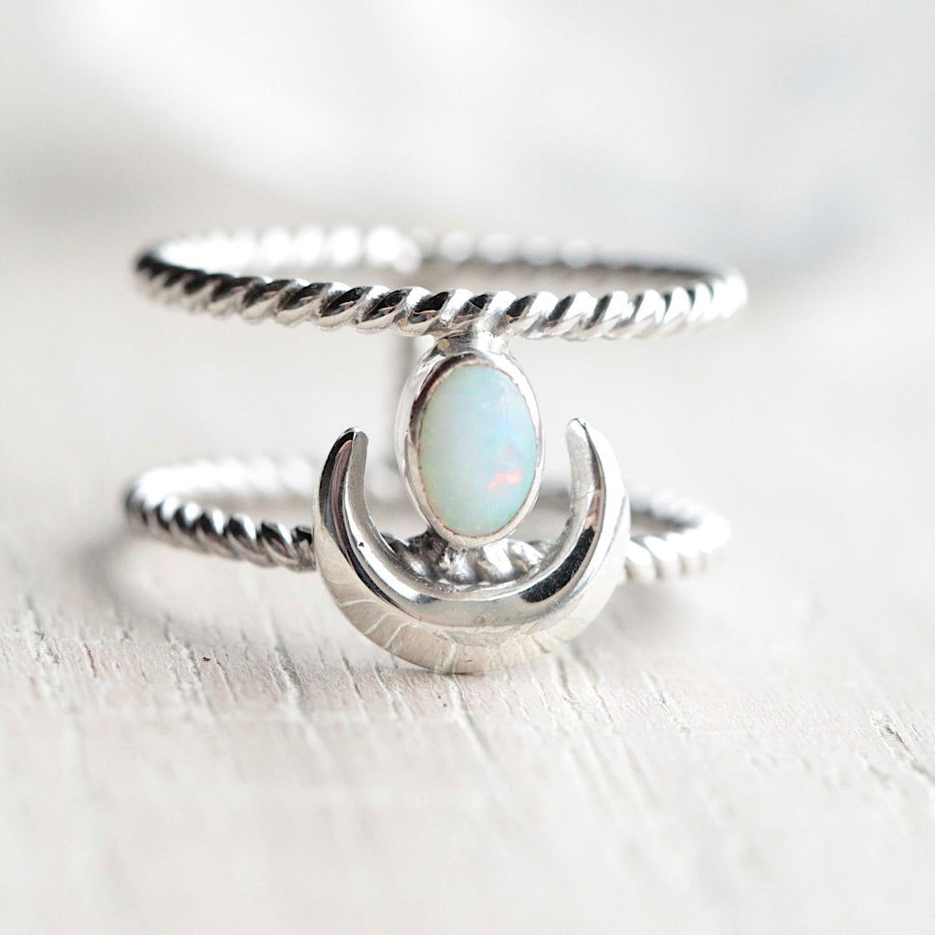White Opal Crescent Moon Ring