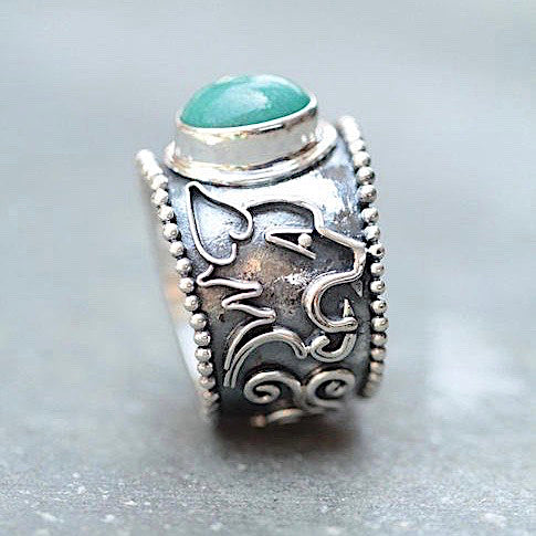Personalised Sterling Silver Turquoise Ring