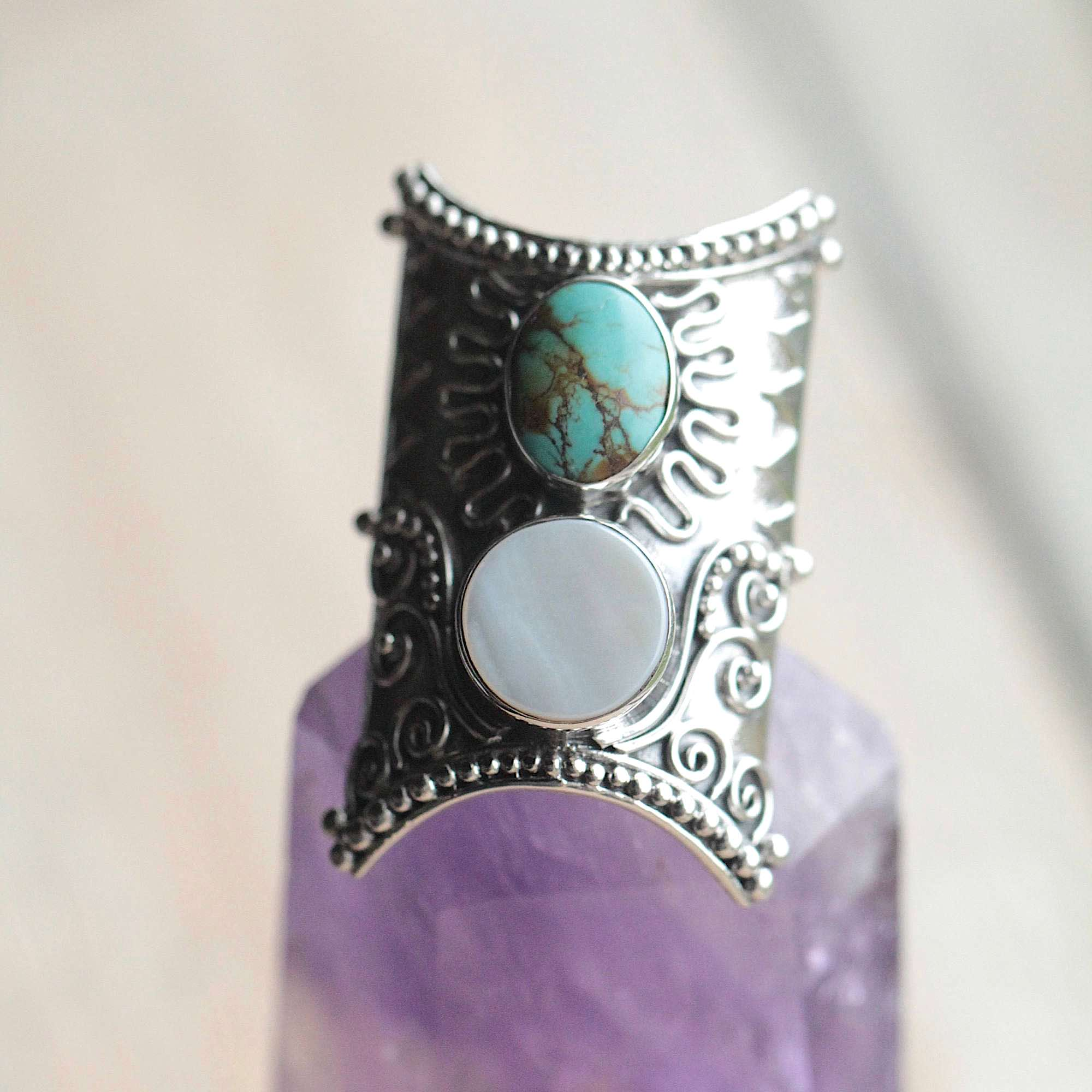 Turquoise & Mother of Pearl Statement Ring
