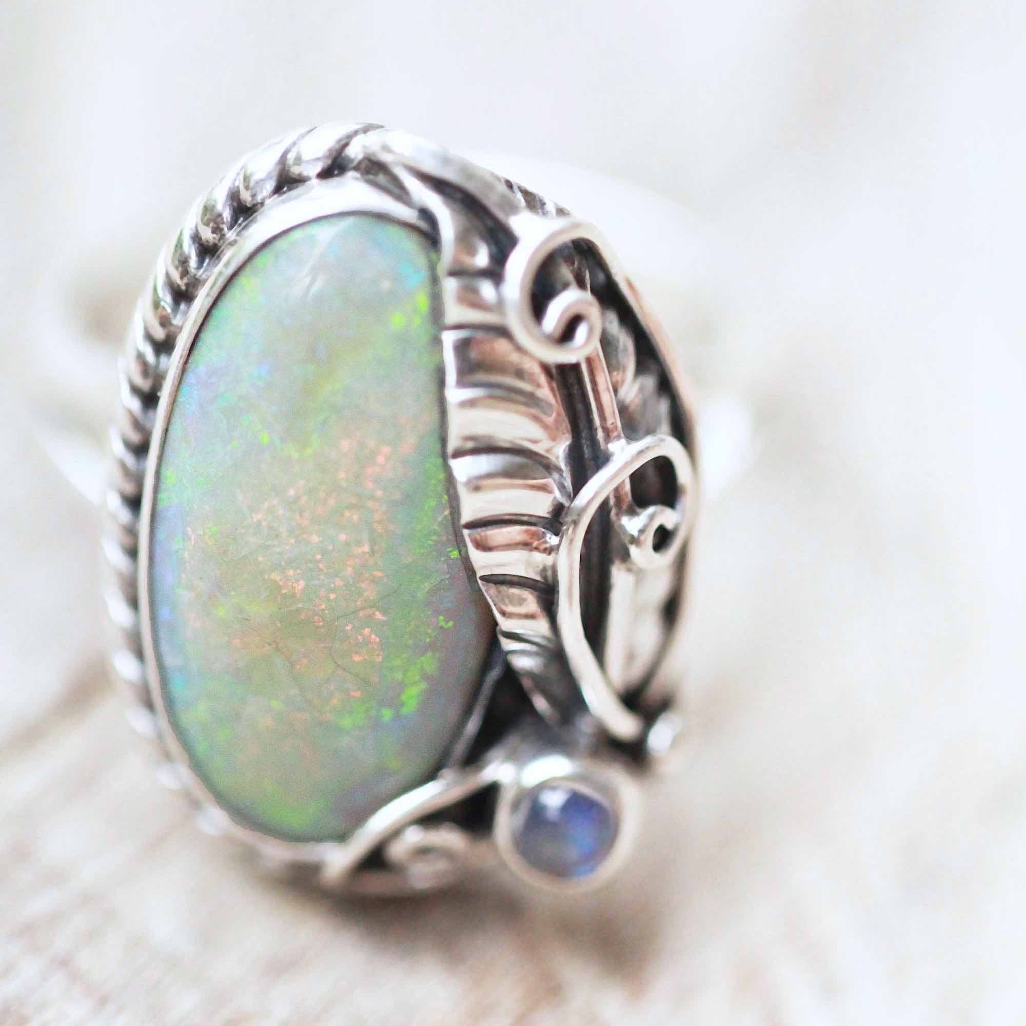 Statement White Opal Silver Ring