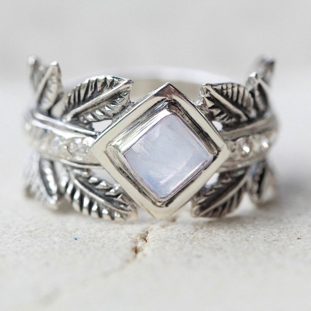 Rainbow Moonstone Ancient Greek Style Ring