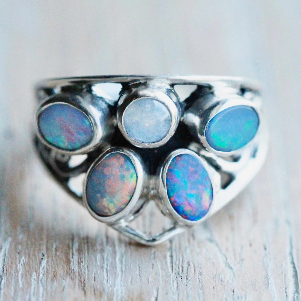 Genuine Blue Opal Gemstone Ring