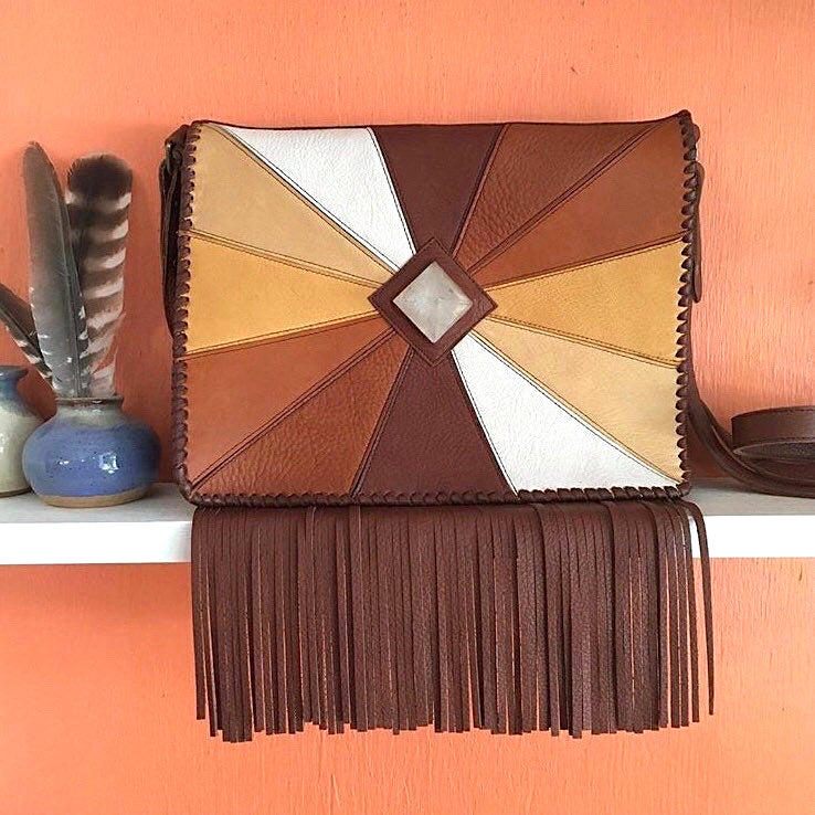 Helios Patchwork Leather Fringe Bag